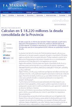 Calculan en   18.220 millones la deuda consolidada de la Provincia