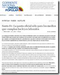 Santa Fe  La pauta oficial sólo para los medios que cumplan las leyes laborales   Corriente Nacional por la Unidad Popular